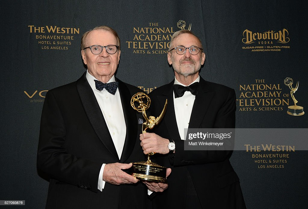 Charles Osgood and Rand Morrison (R) pose with his Emmy for Outstanding Morning Program in the press room at the 43rd Annual Daytime Emmy Awards at the Westin Bonaventure Hotel on May 1, 2016 in Los Angeles, California.