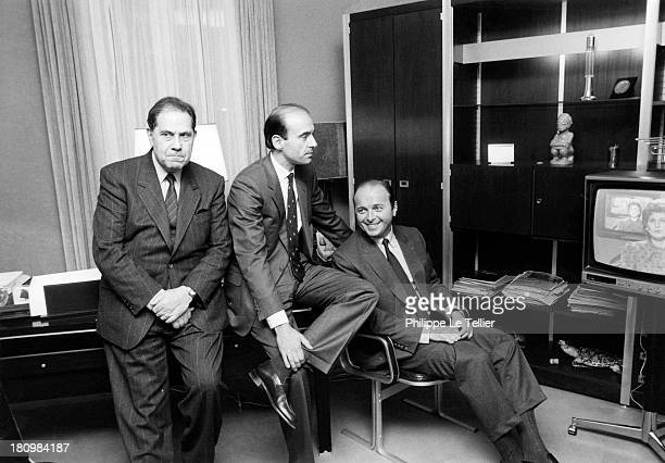 Charles Pasqua Alain Juppe Jacques Toubon at the time of elections the RPR in 1986 France Charles Pasqua Alain Juppe Jacques Toubon aux moment des...