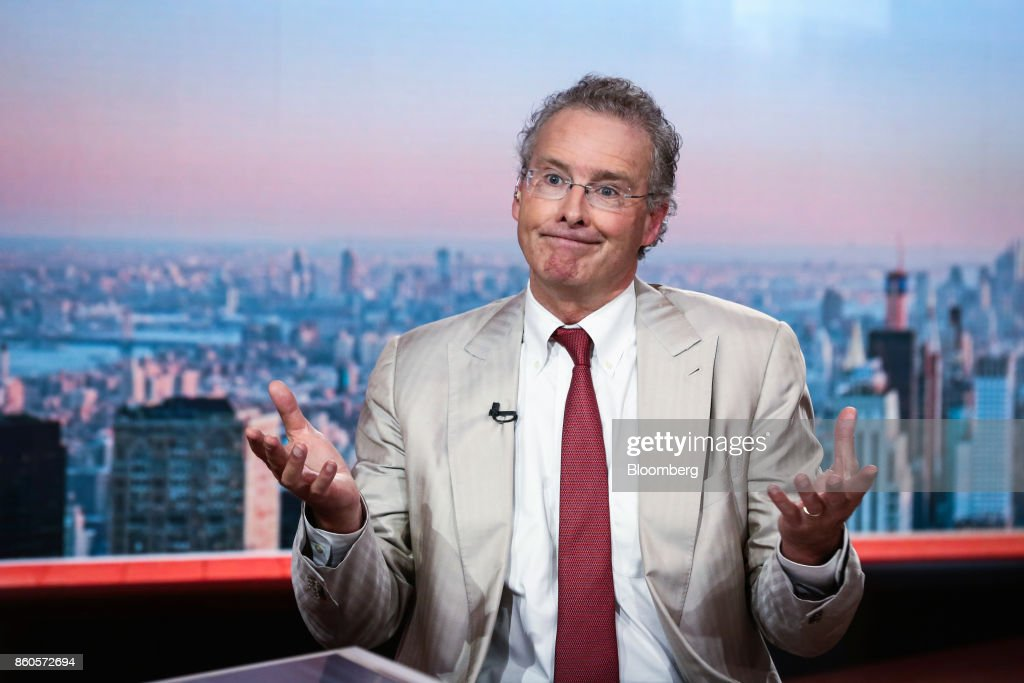 Charles Peabody, managing director of Compass Point Research & Trading LLC, gestures during a Bloomberg Television interview in New York, U.S., on Thursday, Oct. 12, 2017. Peabody discussed the start of bank earnings season as he sees an earnings recession for the big banks in 2018 and 2019. Photographer: Christopher Goodney/Bloomberg via Getty Images