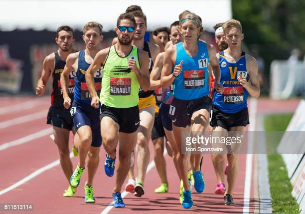 Charles PhilibertThiboutot leading the pack early in the race to set up his victory in the 1500m at the Canadian Track and Field Championships on 9...