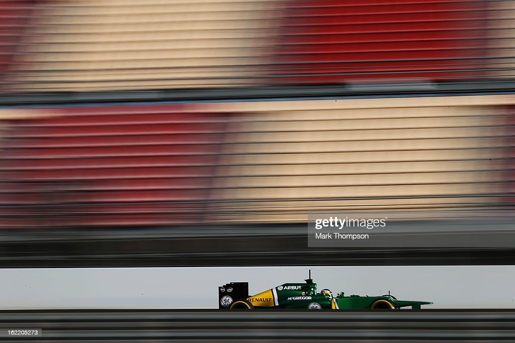 Charles Pic of France and Caterham drives during day two of Formula One winter test at the Circuit de Catalunya on February 20, 2013 in Montmelo, Spain.
