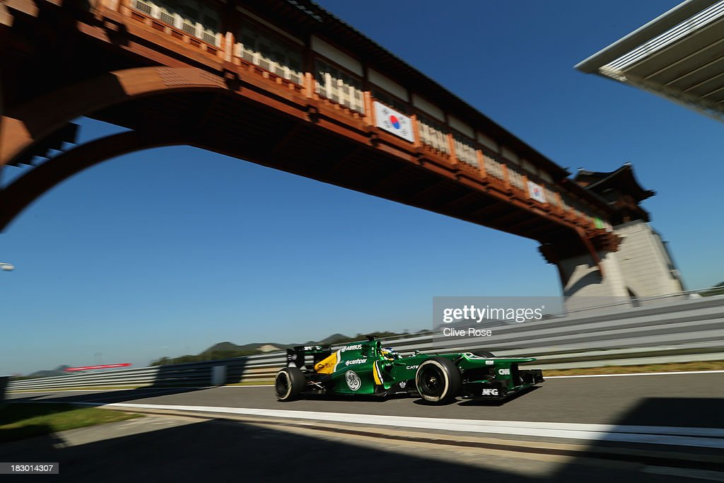Charles Pic of France and Caterham drives during practice for the Korean Formula One Grand Prix at Korea International Circuit on October 4 2013 in...