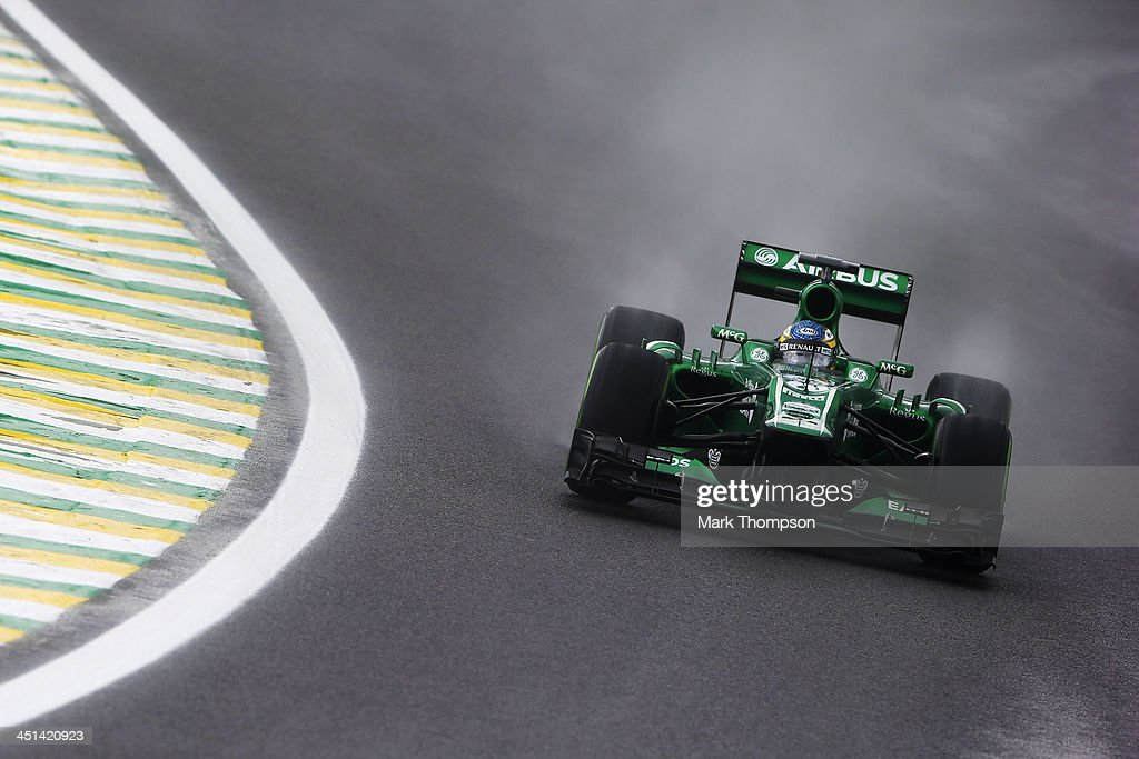 Charles Pic of France and Caterham drives during practice for the Brazilian Formula One Grand Prix at Autodromo Jose Carlos Pace on November 22 2013...
