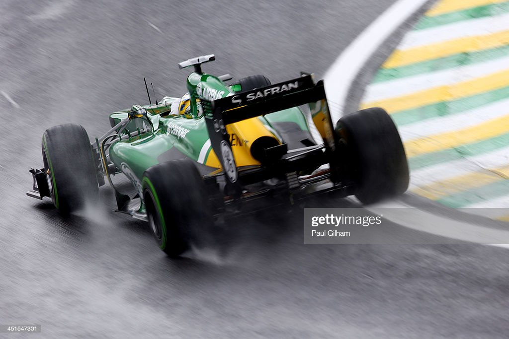 Charles Pic of France and Caterham drives during the final practice session prior to qualifying for the Brazilian Formula One Grand Prix at Autodromo...