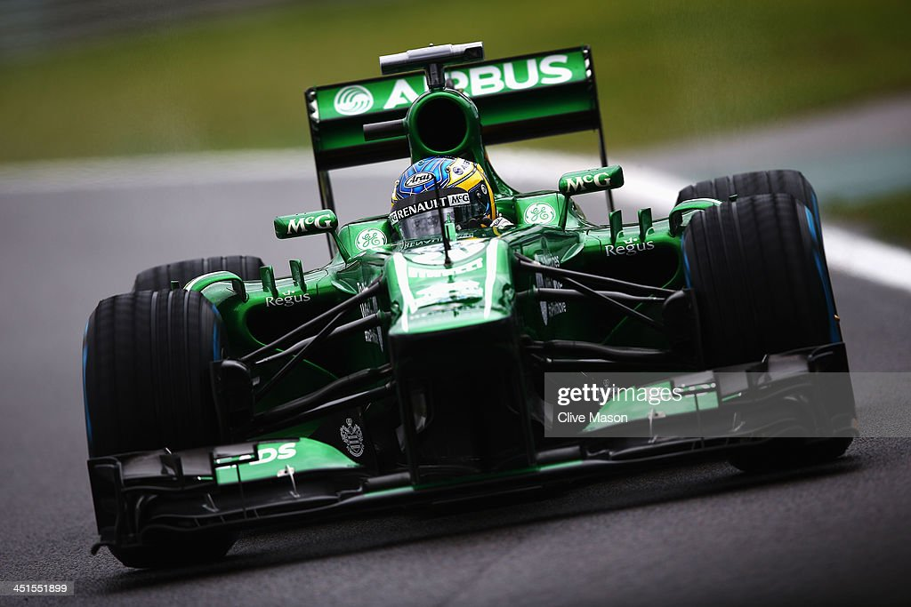 <a gi-track='captionPersonalityLinkClicked' href=/galleries/search?phrase=Charles+Pic&family=editorial&specificpeople=8708875 ng-click='$event.stopPropagation()'>Charles Pic</a> of France and Caterham drives during the final practice session prior to qualifying for the Brazilian Formula One Grand Prix at Autodromo Jose Carlos Pace on November 23, 2013 in Sao Paulo, Brazil.