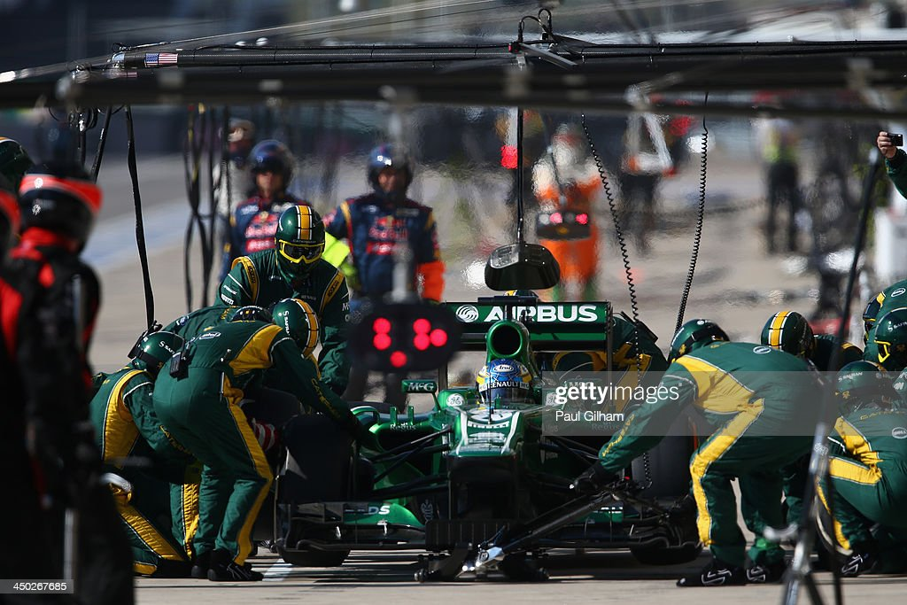 Charles Pic of France and Caterham drives in for a pitstop during the United States Formula One Grand Prix at Circuit of The Americas on November 17...