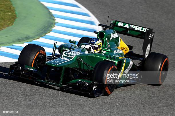 Charles Pic of France and Caterham France drives during Formula One winter testing at Circuito de Jerez on February 7 2013 in Jerez de la Frontera...