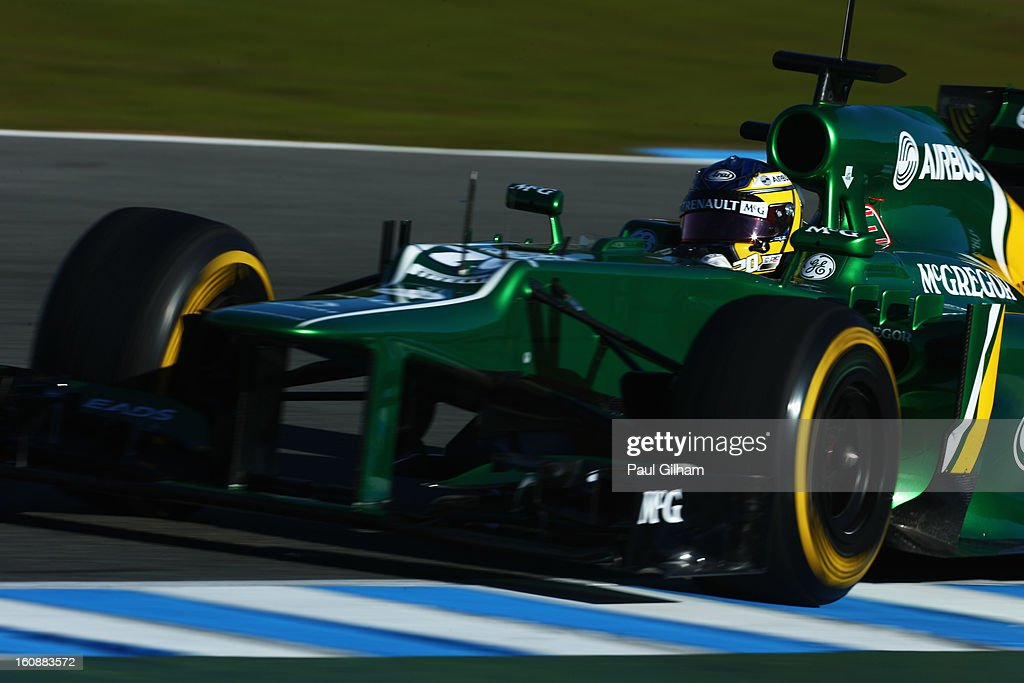 Charles Pic of France and Caterham France drives during Formula One winter testing at Circuito de Jerez on February 7, 2013 in Jerez de la Frontera, Spain.