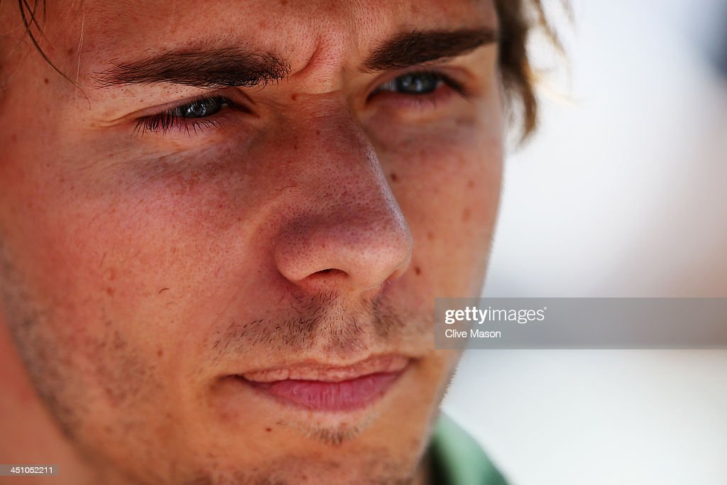 Charles Pic of France and Caterham is interviewed by the media during previews for the Brazilian Formula One Grand Prix at Autodromo Jose Carlos Pace...