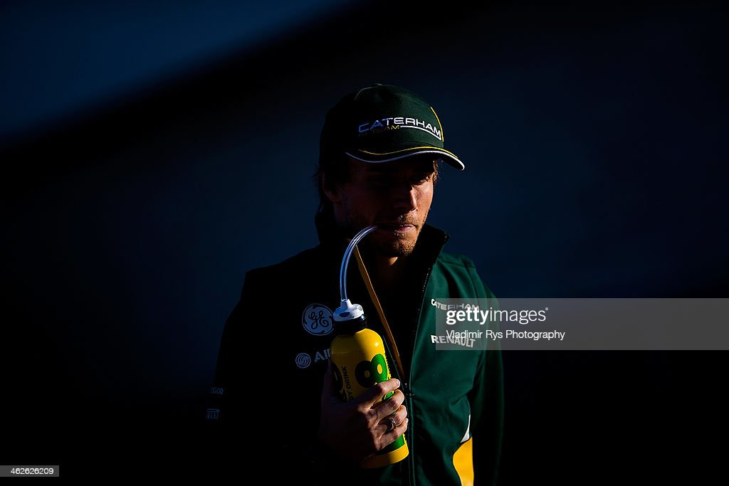 Charles Pic of France and Caterham is seen in the paddock after practice for the United States Formula One Grand Prix at Circuit of The Americas on...