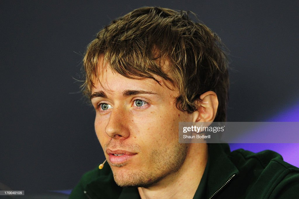 Charles Pic of France and Caterham talks at the drivers press conference during previews to the Canadian Formula One Grand Prix at the Circuit Gilles...