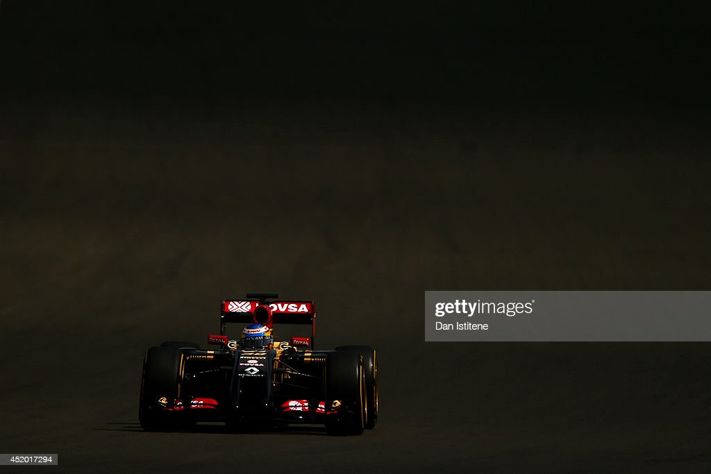 Charles Pic of France and Lotus drives during day two of testing at Silverstone Circuit on July 9, 2014 in Northampton, England.