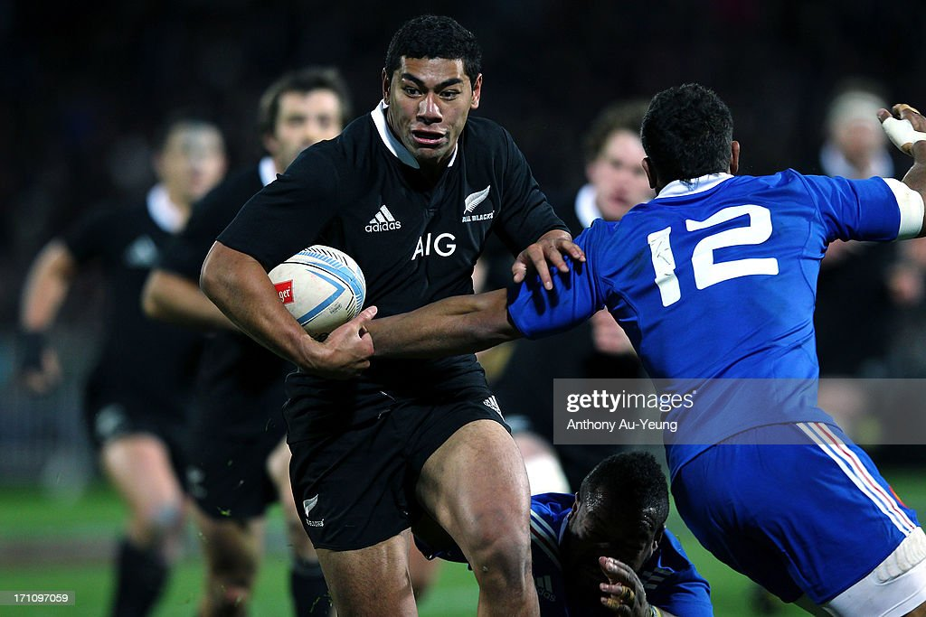 <a gi-track='captionPersonalityLinkClicked' href=/galleries/search?phrase=Charles+Piutau&family=editorial&specificpeople=7158787 ng-click='$event.stopPropagation()'>Charles Piutau</a> of the All Blacks makes a run during the Third Test Match between the New Zealand All Blacks and France at Yarrow Stadium on June 22, 2013 in New Plymouth, New Zealand.