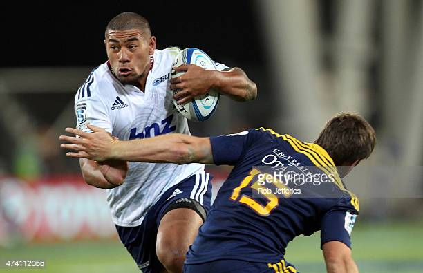 Charles Piutau of the Blues makes a break during the round two Super Rugby match between the Highlanders and the Blues at Forsyth Barr Stadium on...