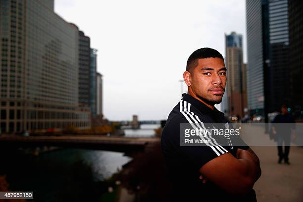 Charles Piutau of the New Zealand All Blacks poses for a portrait following a New Zealand All Blacks Media Session at the Hyatt Regency Hotel on...