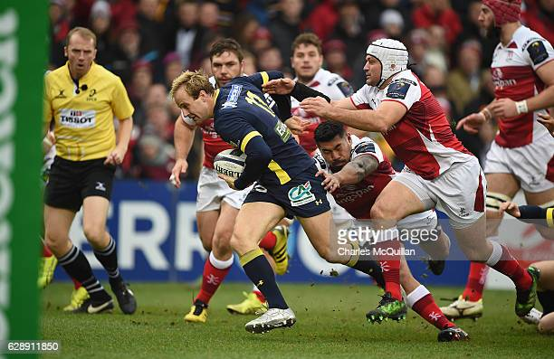 Charles Piutau of Ulster and Nick Abendanon of Clermont during the European Champions Cup game between Ulster and ASM Clermont Auvergne on December...