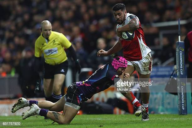 Charles Piutau of Ulster is tackled by Jack Nowell of Exeter during the European Rugby Champions Cup Pool 5 match between Exeter Chiefs and Ulster at...