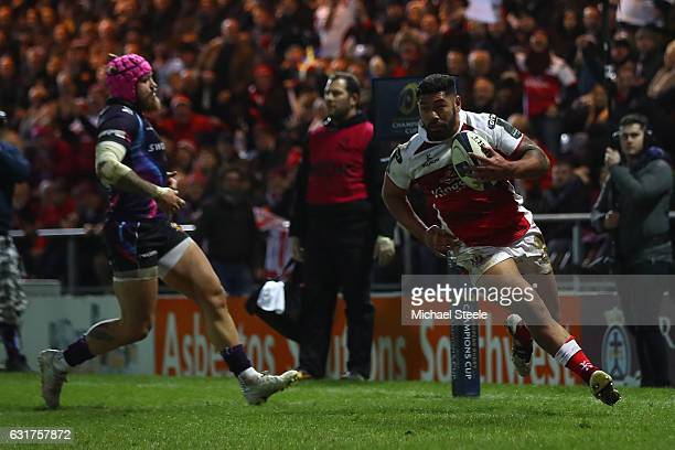 Charles Piutau of Ulster scores a try as Jack Nowell of Exeter looks on during the European Rugby Champions Cup Pool 5 match between Exeter Chiefs...