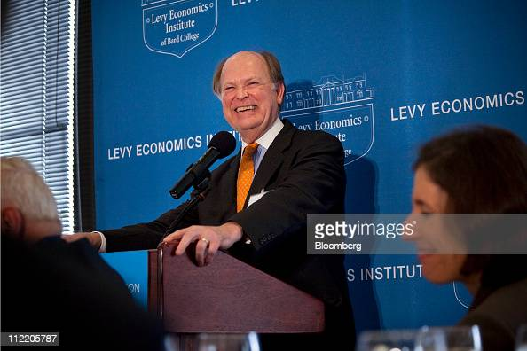 Charles Plosser president and chief executive officer of the Federal Reserve Bank of Philadelphia laughs during a speech at the Levy Economics...