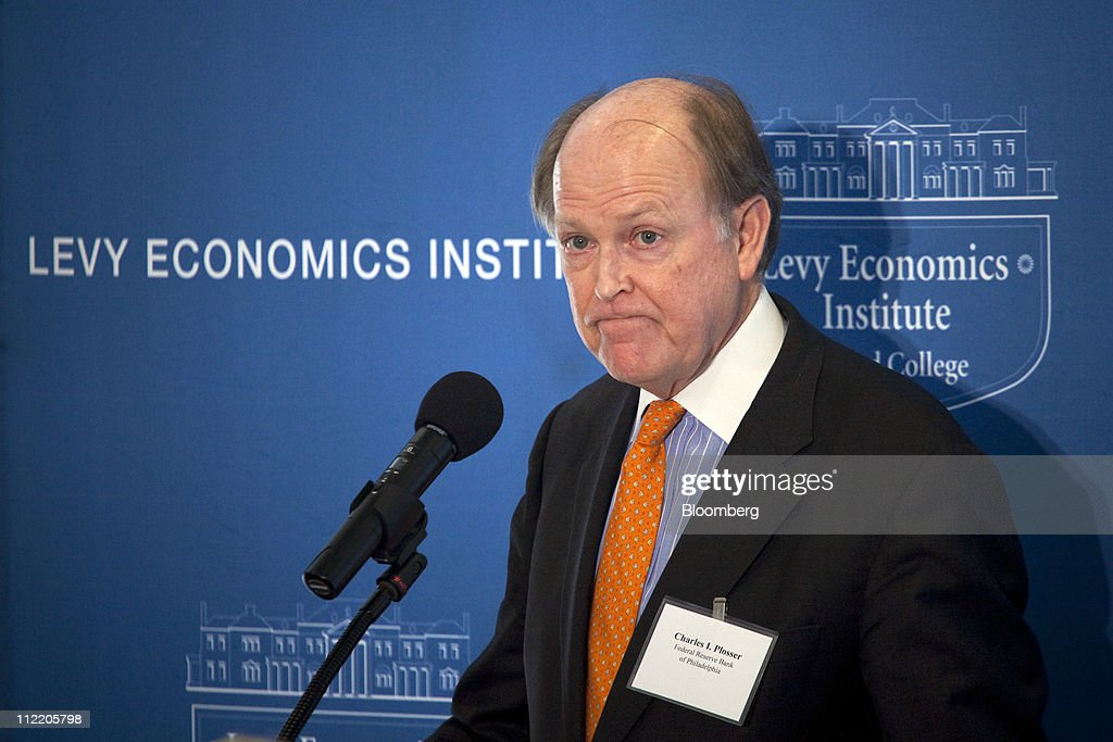 Charles Plosser, president and chief executive officer of the Federal Reserve Bank of Philadelphia, speaks at the Levy Economics Institute conference in New York, U.S., on Thursday, April 14, 2011. Plosser said the U.S. central bank should set a numerical inflation target to promote price stability as it prepares to withdraw record monetary stimulus. Photographer: Michael Nagle/Bloomberg via Getty Images