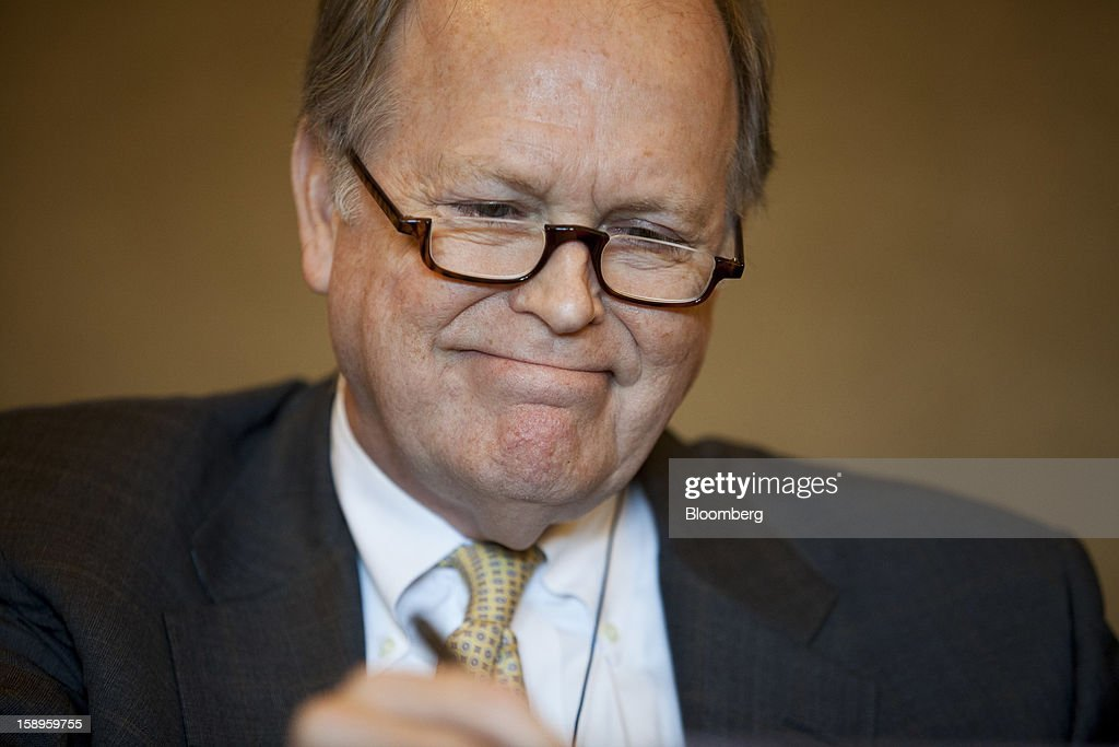 Charles Plosser president of the Federal Reserve Bank of Philadelphia pauses during a panel discussion at the American Economic Association's annual...