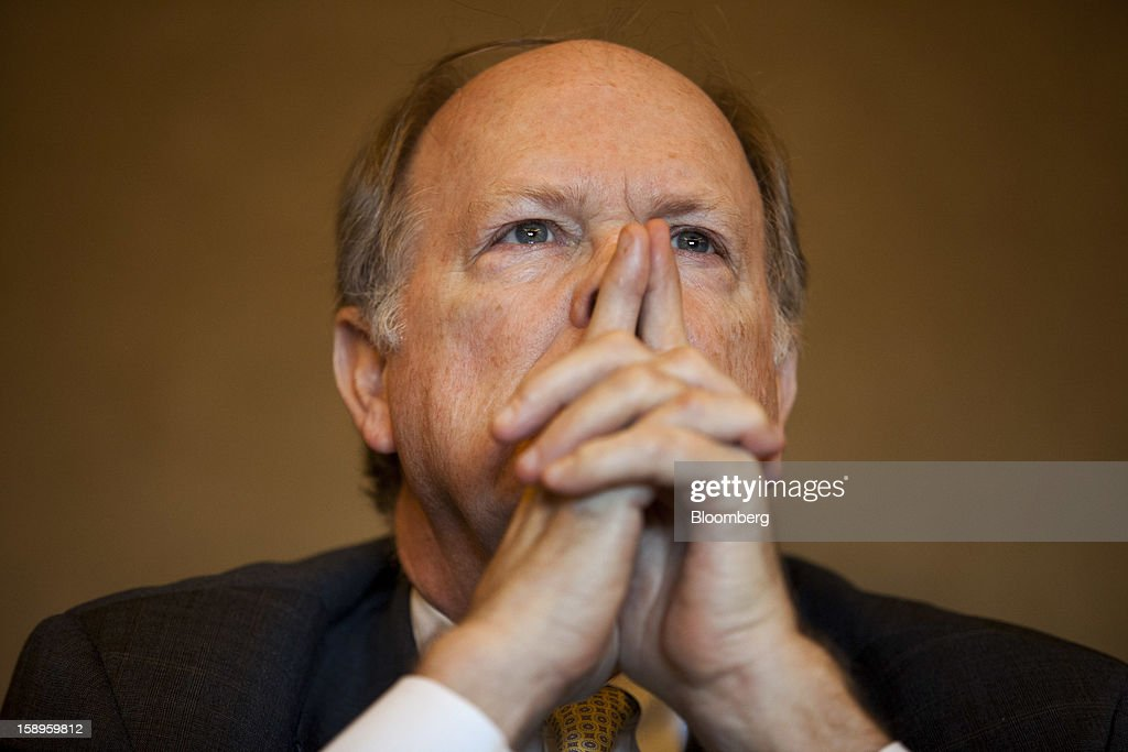 Charles Plosser president of the Federal Reserve Bank of Philadelphia listens during a panel discussion at the American Economic Association's annual...
