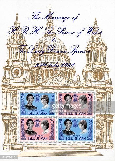 Charles Prince of Wales *Thronfolger GB Briefmarkensatz von der Isle of Manals Hommage an die Hochzeit von PrinzCharles und Lady Diana 1981