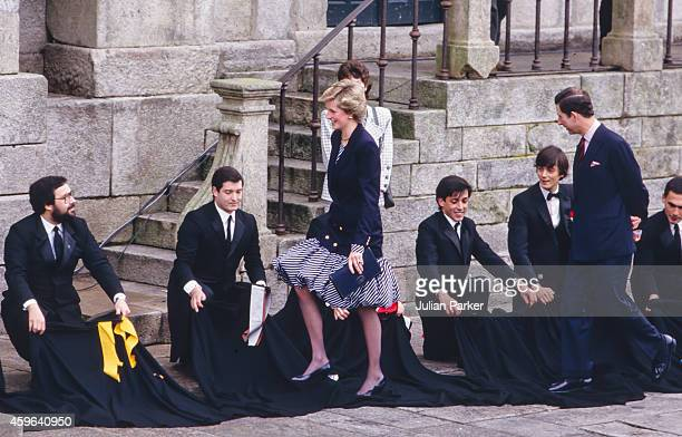 Charles Prince of Wales and Diana Princess of Wales during an official visit to Lisbon Portugal on February 11 1987 in Lisbon Portugal