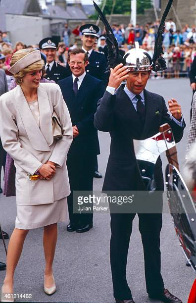 Charles Prince of Wales and Diana Princess of Wales on a visit to The Shetland Isles on July 24 in Shetland Scotland