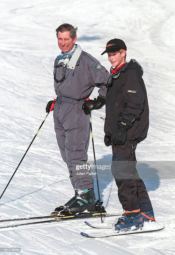 Charles Prince of Wales and Prince Harry on a Skiing holiday on January 5 1999 in Klosters Switzerland