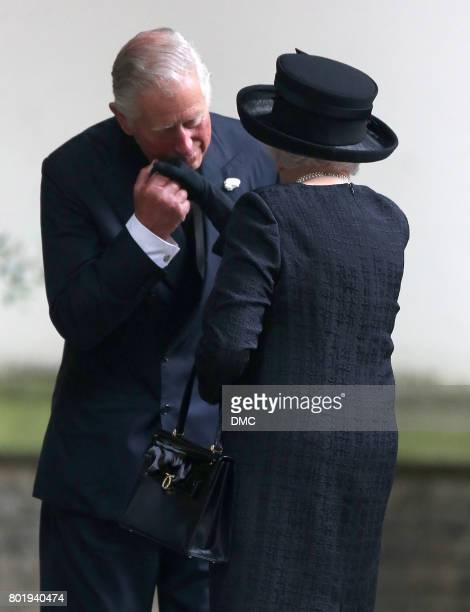 Charles Prince of Wales comforts the Queen Elizabeth II at the funeral of The Countess Mountbatten of Burma at St Paul's Church on June 27 2017 in...
