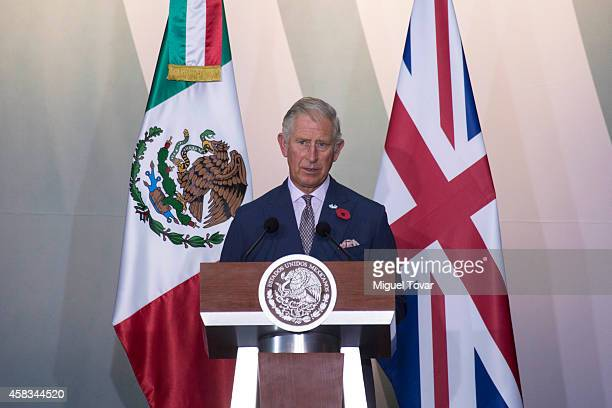 Charles Prince of Wales gives a speech during an official meeting with Enrique Peñ–a Nieto President of Mexico at Nacional Palace on November 03 2014...