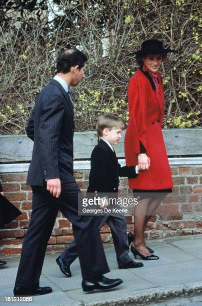 Charles Prince of Wales his son Prince William and Diana Princess of Wales attend the Royal Easter Service at St George's Chapel on March 26 1989 in...
