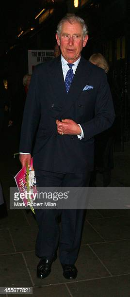 Charles Prince of Wales leaving the Palladium theatre on December 12 2013 in London England