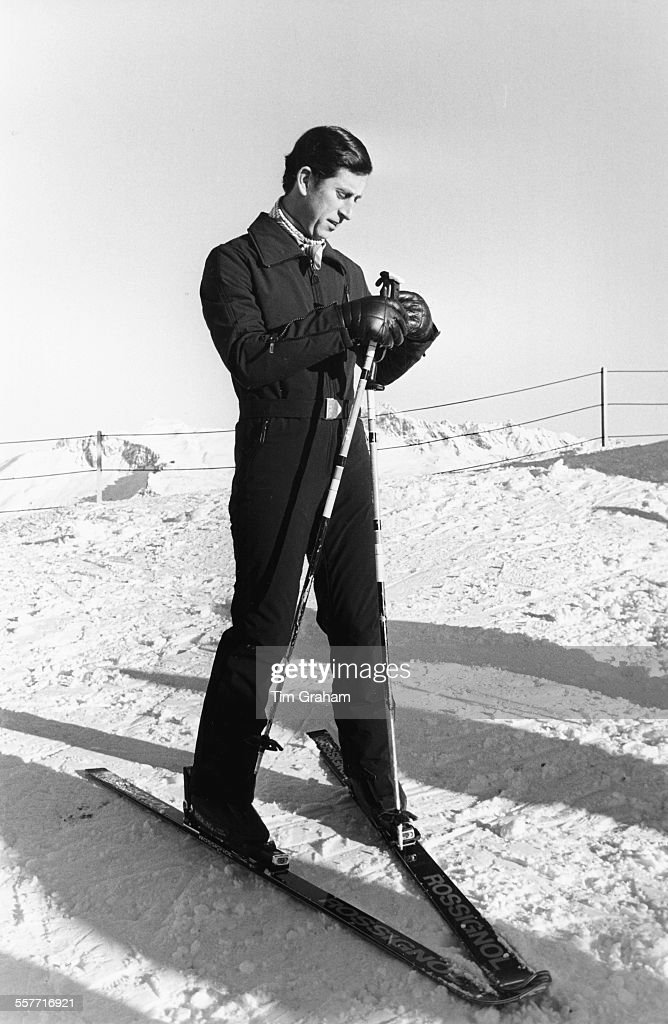 Charles Prince of Wales on a ski holiday in Klosters Switzerland January 1981