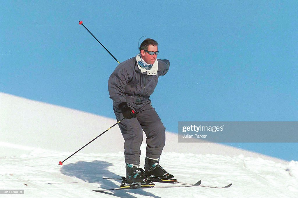 Charles Prince of Wales on a Skiing holiday on January 5 1999 in Klosters Switzerland