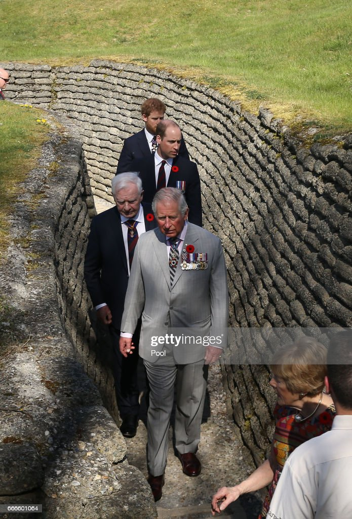 Charles, Prince of Wales, Prince William, Duke of Cambridge and Prince Harry visit the trenches and tunnels used during the battle of Vimy Ridge, as part of the 100th year anniversary of The Battle Of Vimy Ridge on April 9, 2017 in Vimy, France.