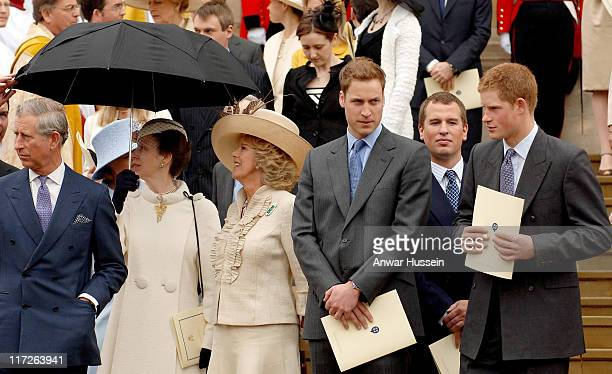 Charles Prince of Wales Princess Anne Camilla Duchess of Cornwall Prince William Peter Phillips and Prince Harry stand on the steps of St George's...