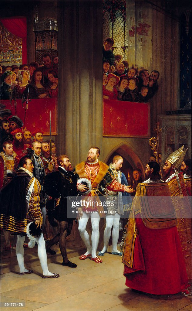 Charles Quint received by Francois I to the Abbey of Saint Denis in 1540 Painting by AntoineJean Gros 1812 Oil on canvas 269 x 167 Louvre Museum...