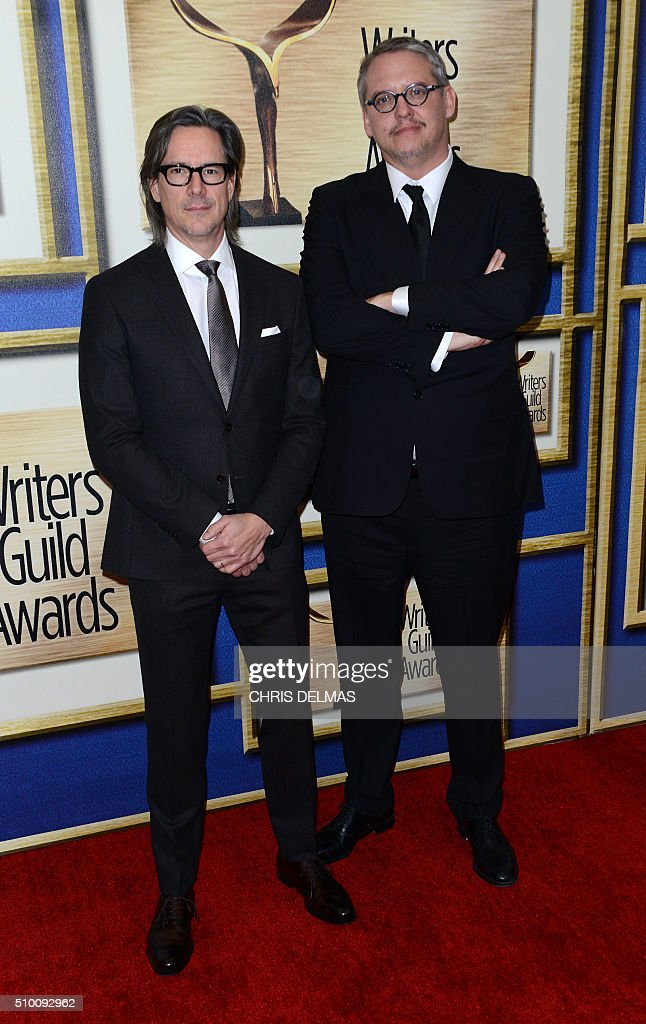 Charles Randolph and Adam McKay arrive for the Writers Guild Awards in Century City, California, February 13, 2016. / AFP / CHRIS DELMAS