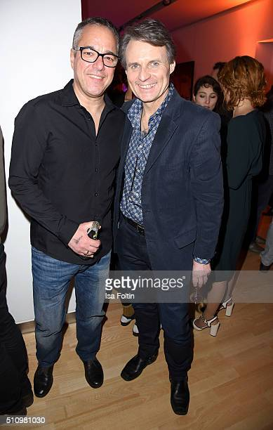 Charles Rettinghaus and Wolfgang Bahro attend the PantaFlix Party on February 17 2016 in Berlin Germany