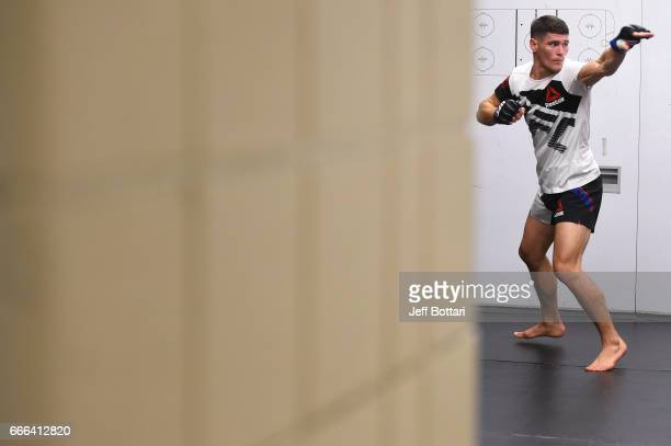 Charles Rosa warms up backstage during the UFC 210 event at the KeyBank Center on April 8 2017 in Buffalo New York