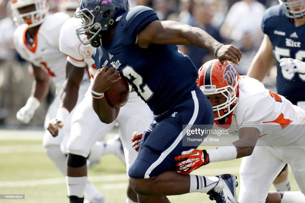 Charles Ross #12 of the Rice Owls rushes against the UTEP Miners on October 26, 2013 at Rice Stadium in Houston, Texas. Rice won 45 to 7.