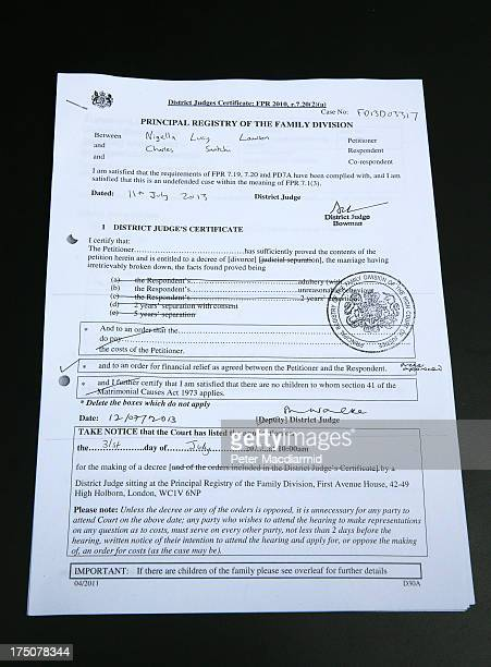 Charles Saatchi and Nigella Lawson divorce papers have been released by The High Court on July 31 2013 in London England Nigella Lawson has been...