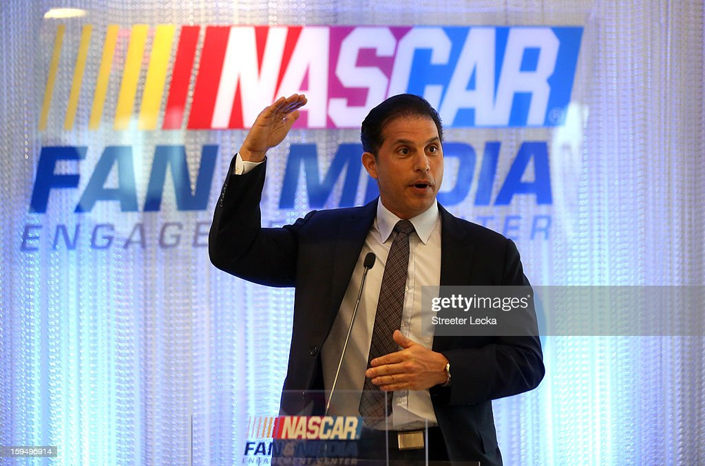 Charles Salameh, Hewlitt Packard Enterprise Services Vice President and General Manager Communications, speaks to media during the NASCAR Fan and Media Engagement Center Unveiling at NASCAR Plaza on January 14, 2013 in Charlotte, North Carolina.