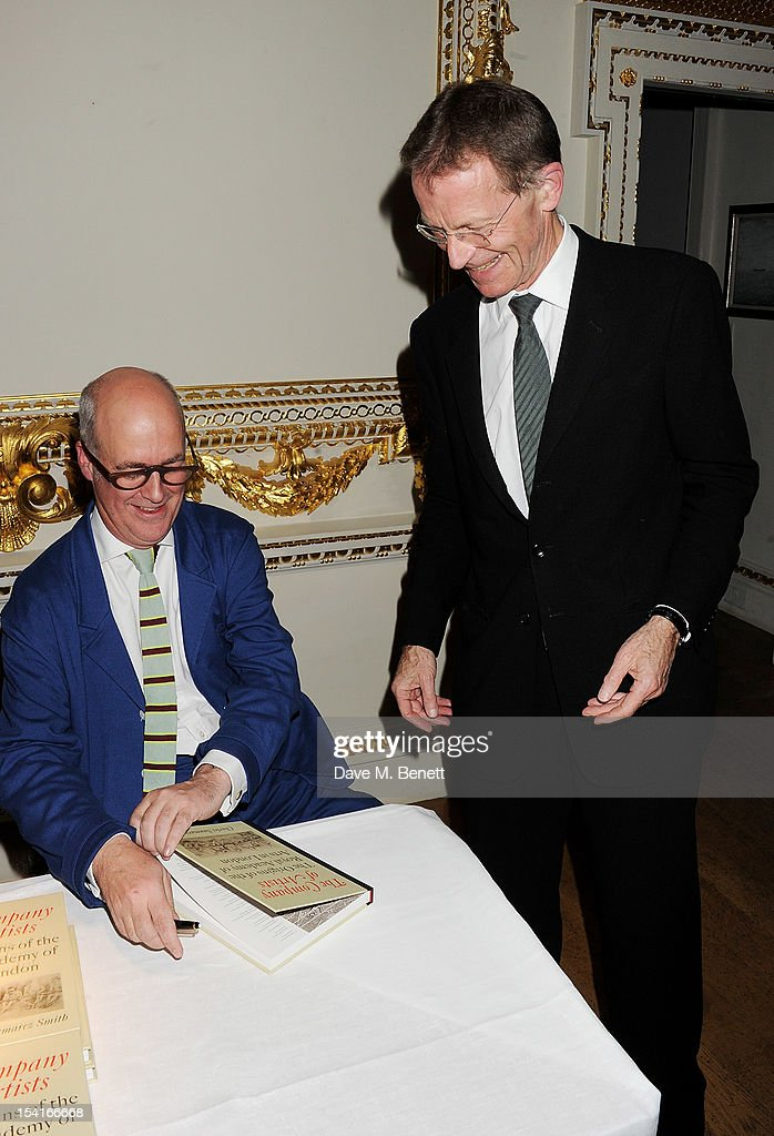 Charles Saumarez Smith (L) and Sir Nicholas Serota attend as Charles Saumarez Smith, Chief Executive of the Royal Academy of Arts, launches his new book 'The Company Of Artists: The Origins Of The Royal Academy Of Arts In London' at The Royal Academy of Arts on October 15, 2012 in London, England.