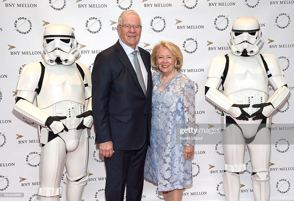 Charles Schaefer, Carol Schaefer and Stormtroopers attend New York Philharmonic's Spring Gala, A John Williams Celebration at David Geffen Hall on May 24, 2016 in New York City.