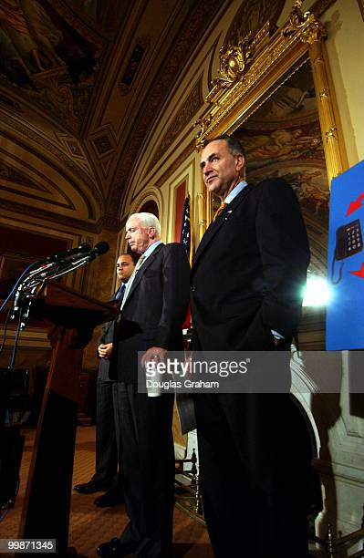 Charles Schumer DNY John McCain RAZ and the FCC Chairman Michael K Powell during a press conference on the last minute push by cell phone companys to...