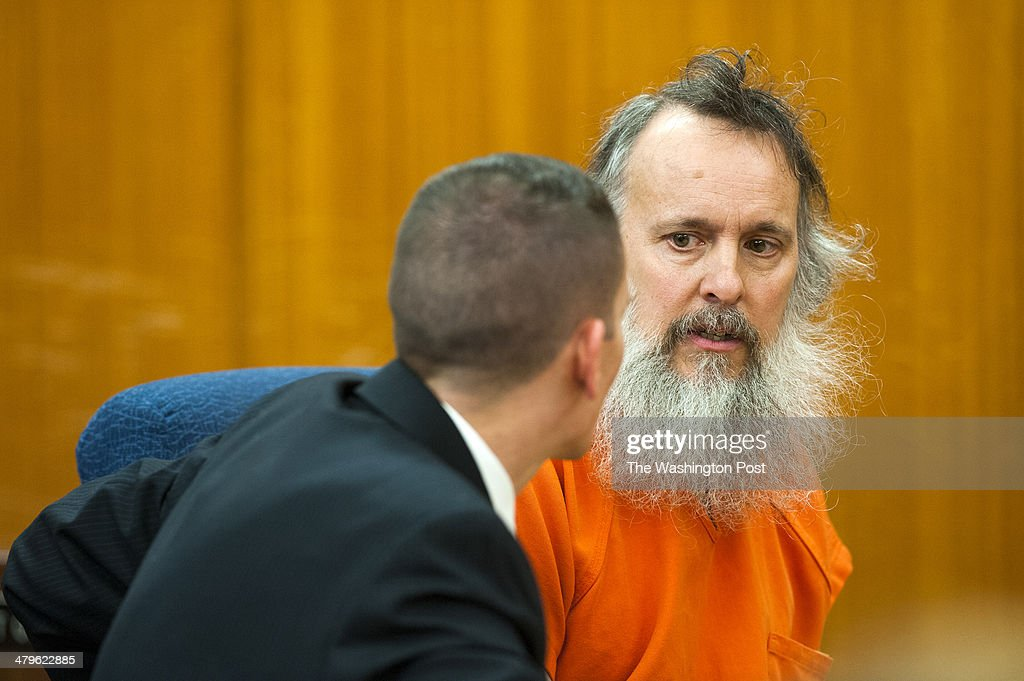 Charles Severance talks with his attorney Shayne Welling during a recess in his court proceedings Wednesday March 19, 2014 in Wheeling, WV. Severance, a person of interest in three murders in Alexandria is being held on a fugitive warrant from Loudoun County on charges of illegal gun possession has hearing in West Virginia.