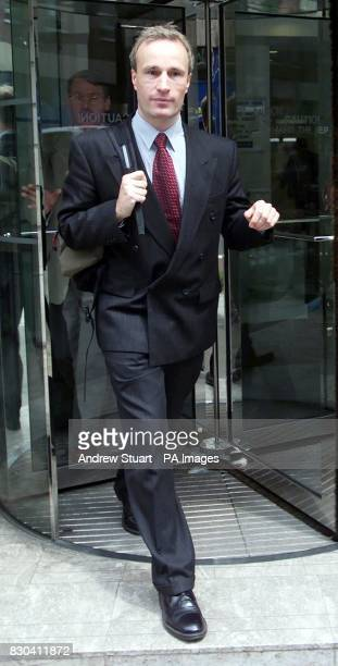 Charles Shoebridge who was falsely accused of harrasing female colleagues leaves Woburn Place in London where an industrial tribunal is deciding on...